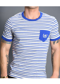 Bayside Stripe Pocket Tee w/ Laurel Cross [S]